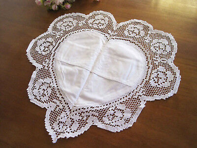 Hand Rose Embroidery Hemstitch Filet Lace Cotton White Heart Shape Doily Satchel