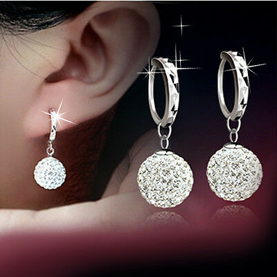 Women Fashion 925 Sterling Silver Full Crystal Ball Drop Dangle Earrings Jewelry