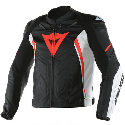 Dainese Avro D1 Leather Motorcycle Jacket - Black / White / Flo Red