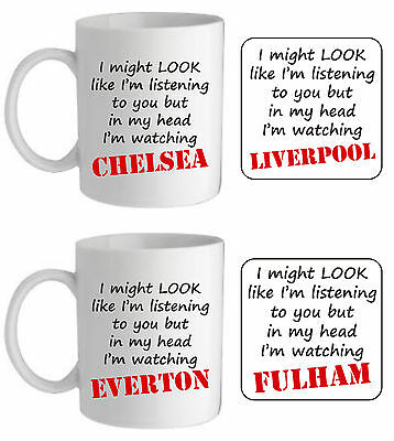 In my head I'm watching football team mug fun son husband christmas gift for him