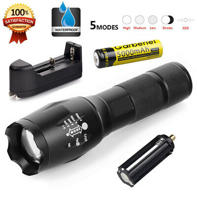 Tactical 10000LM 18650 T6 Zoomable LED Flashlight Battery US Charger Torch Lamp
