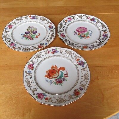 Lot of 3 Large Ornate Erphila Floral Plates with Gold Trim Czechoslovakia
