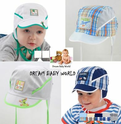 BABY BOYS cotton TIE UP hat SPRING SUMMER - NEW 0 - 12 months! BOY CAP KIDS