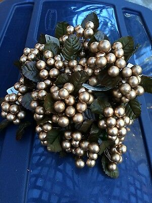 22 Piece Gold Berry Lot~Christmas Decoration~Wreath Making~New Old Stock~NOS