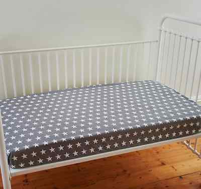 Boys Lachlan Grey Stars Fitted Cot Sheet Cotton