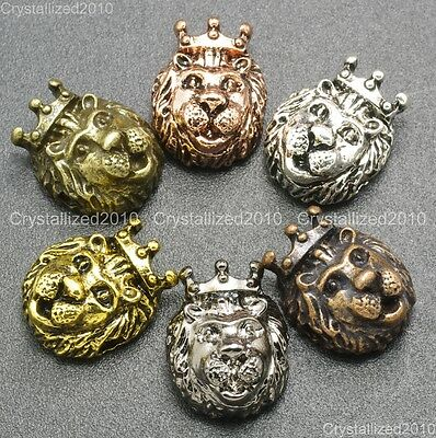 Solid Metal King Crown Lion Bracelet Necklace Connector Charm Beads Silver Gold