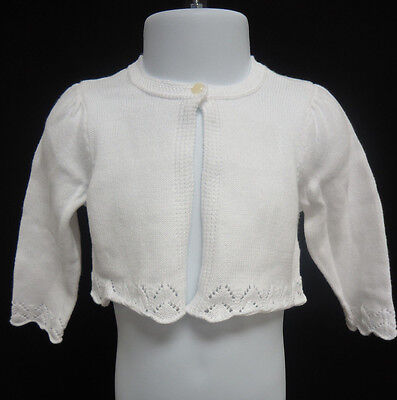 Ralph Lauren Polo 100% Cotton Pointelle Knit Shrug Sweater WHITE 5