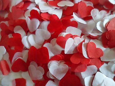 1500 Red and White Tissue Hearts/Wedding Confetti/Celebration//Party/ Decoration
