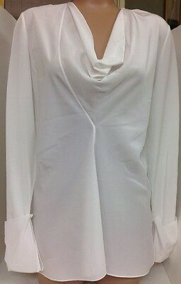 Chloe Blouse Milk White Long Sleeves Cuffed Scooped Neck Silk Size 36 NWT