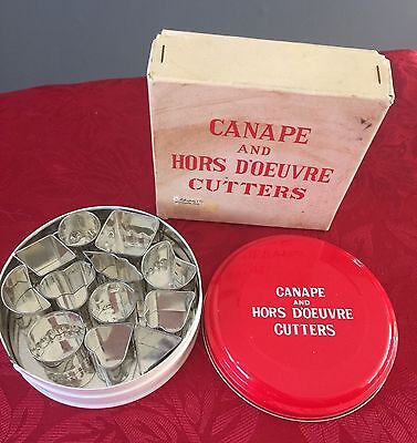 Canape and Hors D'oeuvre Cutters Tin And Original Box Japan Free Shipping