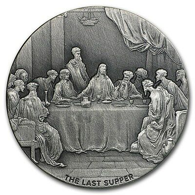 2016 Biblical Series The Last Supper 2 oz .999 Silver Antiqued Finish USA Coin