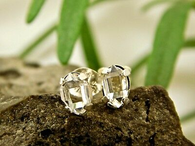 A+ Grade Herkimer Diamond Crystal Earrings set in Sterling Silver 8x4 mm Q3 Lot2