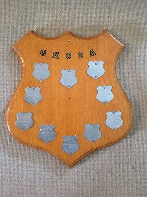 Vintage Wooden Trophy Shield with Silver Plaques GKCSA Go Karts