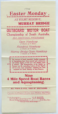 1930 ADV SHEET OUTBOARD MOTOR BOAT CHAMPIONSHIP OF SOUTH AUST MURRAY BRIDGE i88