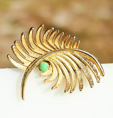CAPRI signed gold tone art design leaf with dew drop - green glass BROOCH