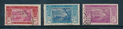 French Ivory Coast 1930 New Values Very Fine Used...sg75 + 77 + 79