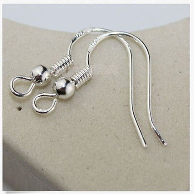 100PCS Silver Plated Metal Earrings Hook Coil Ear Wires DIY Jewelry Findings gt