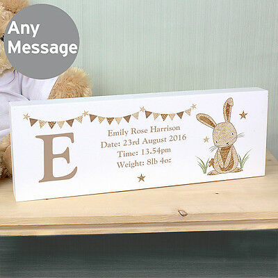 Personalised RABBIT Mantle Block, NEW BABY Gift, Christening gift, Nursery Gift
