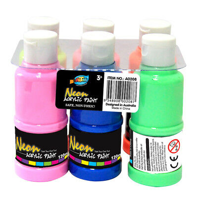 6 Colour Neon Acrylic Paint 120ml Bottle Non-toxic Safe Great for Kids Artwork