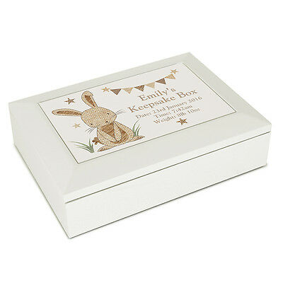 Personalised RABBIT Jewellery Box Baby Keepsake NEW BABY Gift, Christening gift