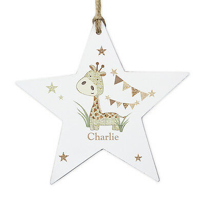 Personalised GIRAFFE Hanging Star Baby Keepsake NEW BABY Gift, Christening gift