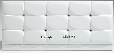 Crystal Diamante Faux Leather Headboard in 2ft6,3tf,4ft,4ft6,5ft,6ft & 7 Colours