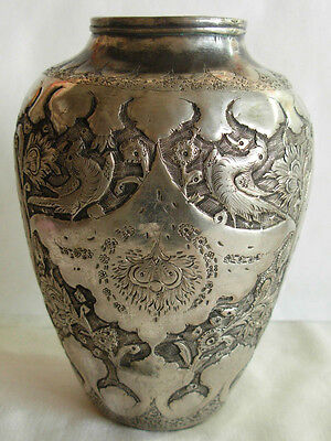 ANTIQUE PERSIAN ISFAHAN STERLING SILVER CHASED & ENGRAVED VASE W/ BIRDS--305 gr.