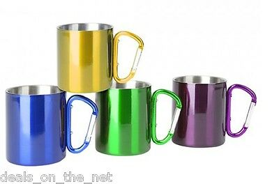 Summit Stainless Steel 300ml Camping Mug With Carabiner Handle Assorted Colors