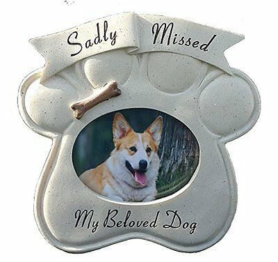Memorial Sadly Missed Dog Paw Frame Pet Graveside Ornament Plaque Photo Garden