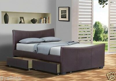 Roma 4 Drawers Faux Leather Storage Sleigh Beds Double King Size+Memory Mattress