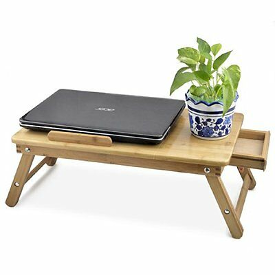 Bamboo Tray Laptop PC Book Furniture Table Desk Work Bed Relax Stand Draw Read