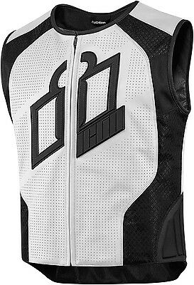 New 2016 Icon White Hypersport Prime Motorcycle Vest Street Cruiser All Size