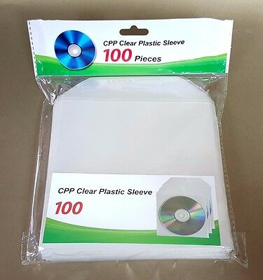 2000 CD DVD CPP Clear Plastic Sleeve with Flap Envelopes 100micron