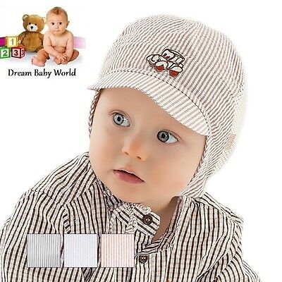 BABY BOYS cotton TIE UP hat SPRING / SUMMER - NEW - size 3 - 9 months! BOY