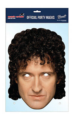 Brian May Official Queen 2D Card Party Face Mask Fancy Dress Up Rock Band