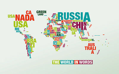 A3 Size - WORLD MAP IN WORDS poster Wall chart #28