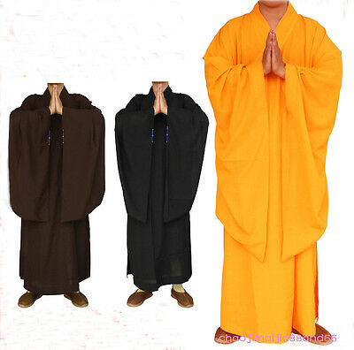 Shaolin Kung Fu Zen Monk Lay Buddhists Meditation Uniform haiqing long gown suit