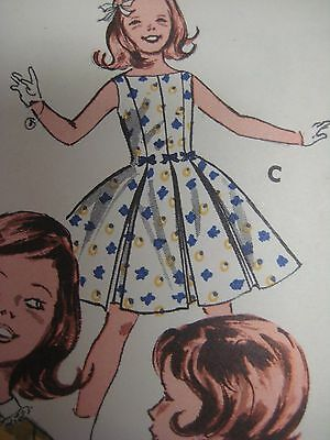 Vintage 1960's Butterick 9709 DRESS w/ BOX PLEATED SKIRT Sewing Pattern Girl Sz7