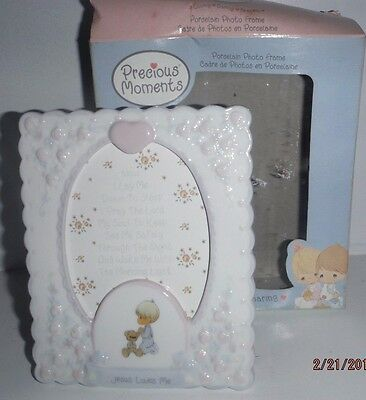 2003 Enesco Precious Moments Jesus Loves Me Porcelain Picture Frame NIB