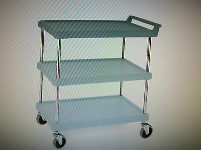 Metro BC1627-34MB Antimicrobial Polymer Utility Cart / Swivel Casters  3 Lipp