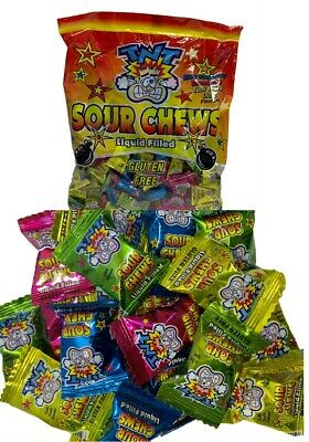 200 x TNT SOUR CHEWS Bulk Lollies 1kg Individually Wrapped Party Favour Sweets