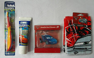 DISNEY CARS - 4pc SET - Toothpaste, Toothbrush, Facecloth, Hand Warmer