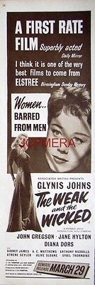 The WEAK and the WICKED   Original 1954 Film Advert  - Glynis Johns Movie Ad
