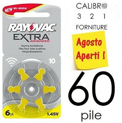NEW 60 batterie RAYOVAC 10 ADVANCED EXTRA PR70 apparecchi acustici - GIALLE pile