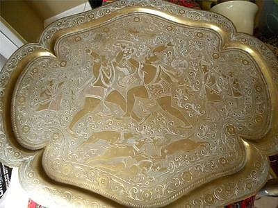 Antique 19 C Islamic Persian Qalam Zani Art Storyteller Engraved Brass Tray