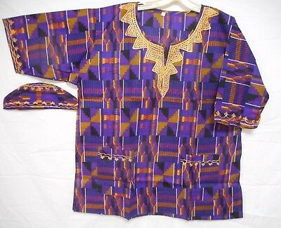 Men Kente Print Dashiki Shirt African Blouse Ethnic Top Purple Gold One Size