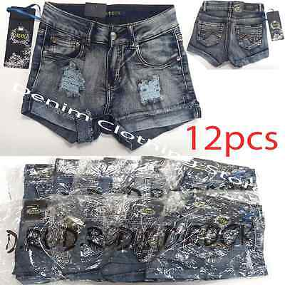 Wholesale Bulk Lot of 12 Women Juniors Ripped Stretch Denim Shorts Mix Size 0-17