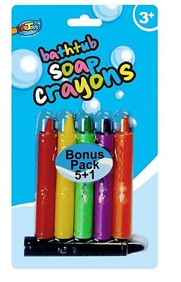 6 Pcs Bath Crayons Non-Toxic Wipe On Wipe Off Bathtime Fun Play Educational Toy