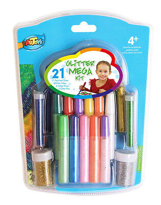 21 pieces Glitter Kit Classic Glitter Colors Peal Glues Great for Kids Art Craft
