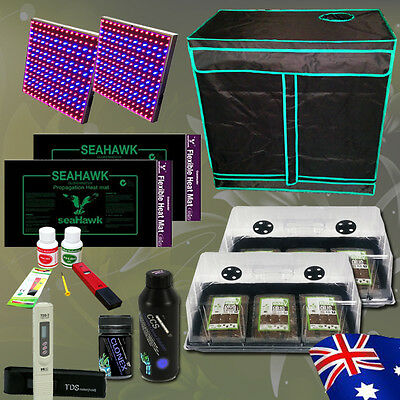 Hydroponics Grow Tent Cloning LED Panel Coco Peat Dome Heat Mat Nutrients Combo